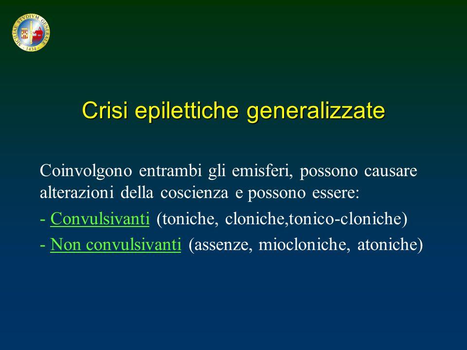 Crisi epilettiche generalizzate Coinvolgono entrambi gli emisferi, possono causare alterazioni della coscienza e possono essere: - Convulsivanti (toni