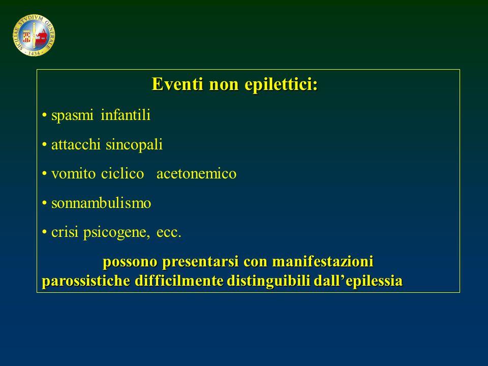 Eventi non epilettici: spasmi infantili attacchi sincopali vomito ciclico acetonemico sonnambulismo crisi psicogene, ecc. possono presentarsi con mani