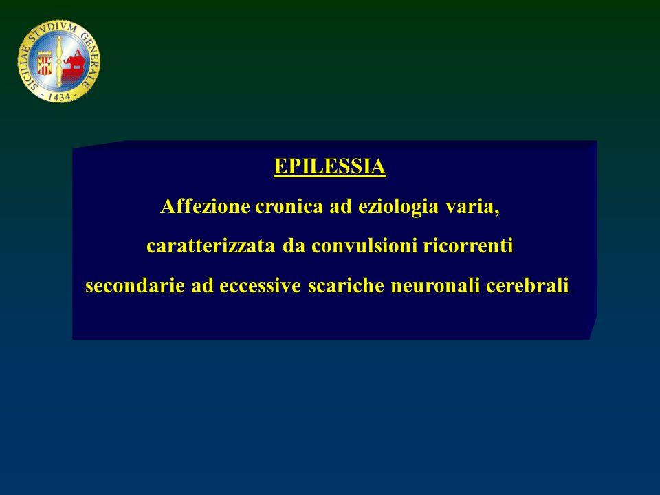 EPILESSIA Affezione cronica ad eziologia varia, caratterizzata da convulsioni ricorrenti secondarie ad eccessive scariche neuronali cerebrali.