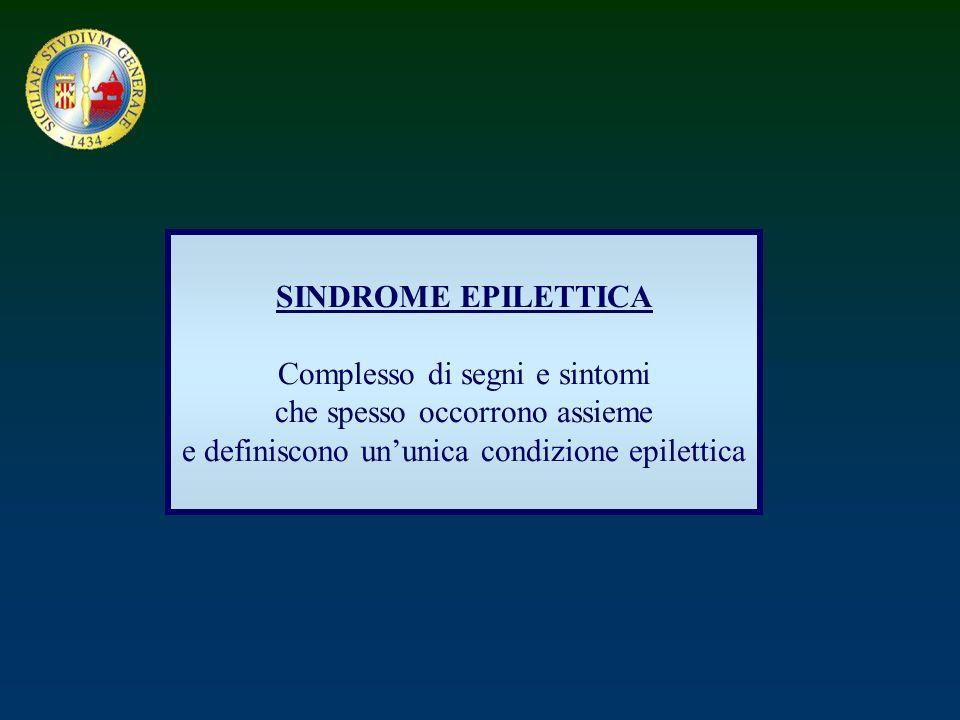 Sindromi epilettiche Idiopatiche Sintomatiche Probabilmente sintomatiche
