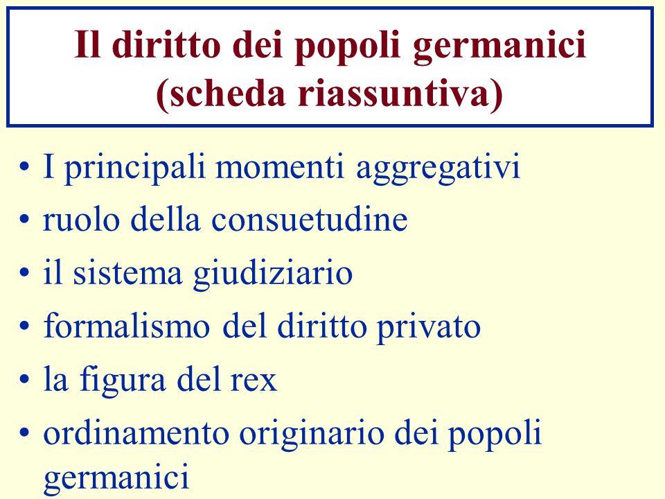 Il diritto dei popoli germanici (scheda riassuntiva) I principali momenti aggregativi ruolo della consuetudine il sistema giudiziario formalismo del d