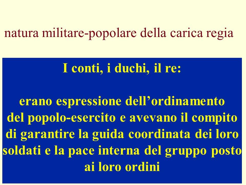 natura militare-popolare della carica regia I conti, i duchi, il re: erano espressione dellordinamento del popolo-esercito e avevano il compito di gar