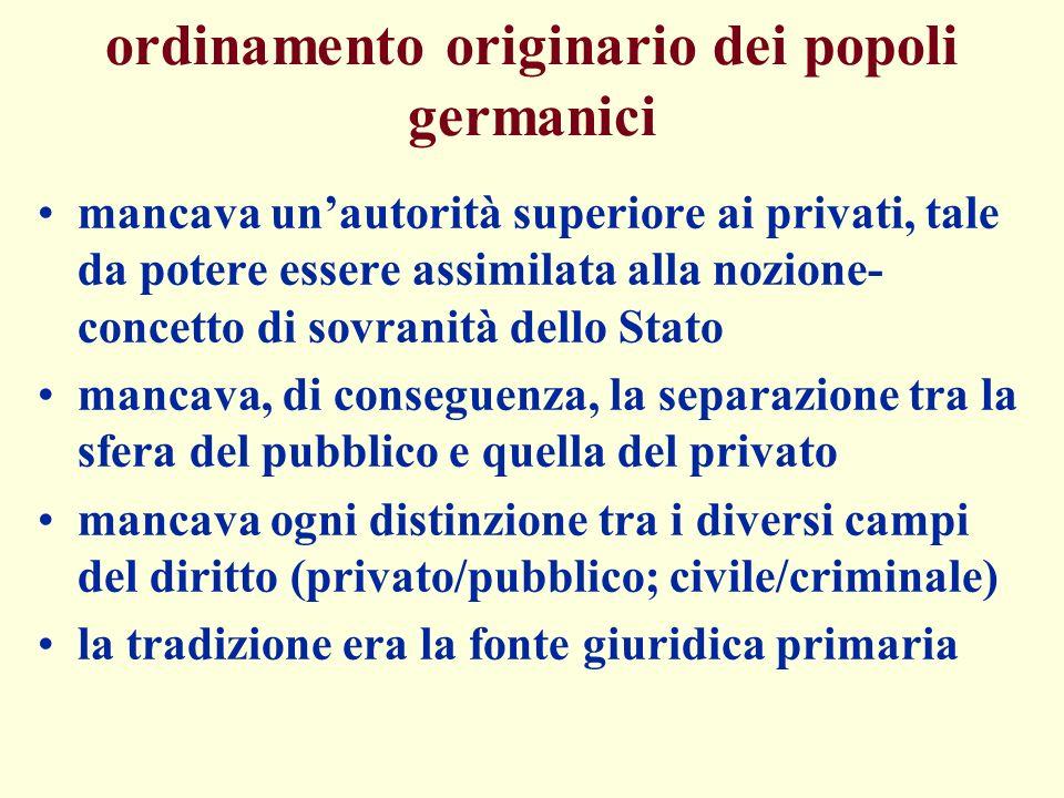 ordinamento originario dei popoli germanici mancava unautorità superiore ai privati, tale da potere essere assimilata alla nozione- concetto di sovran