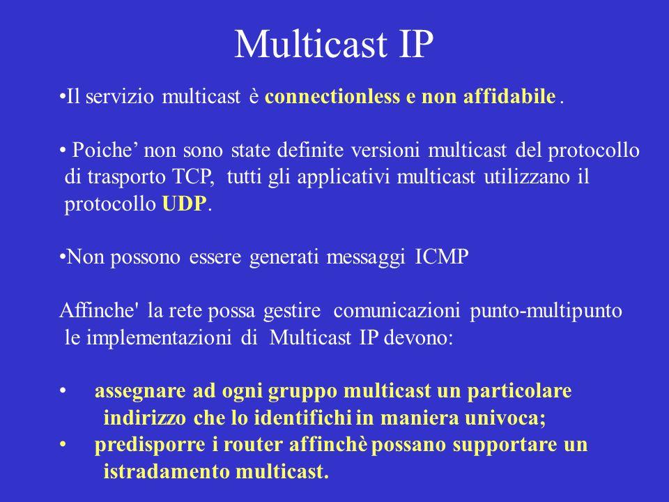 Multicast IP Il servizio multicast è connectionless e non affidabile. Poiche non sono state definite versioni multicast del protocollo di trasporto TC