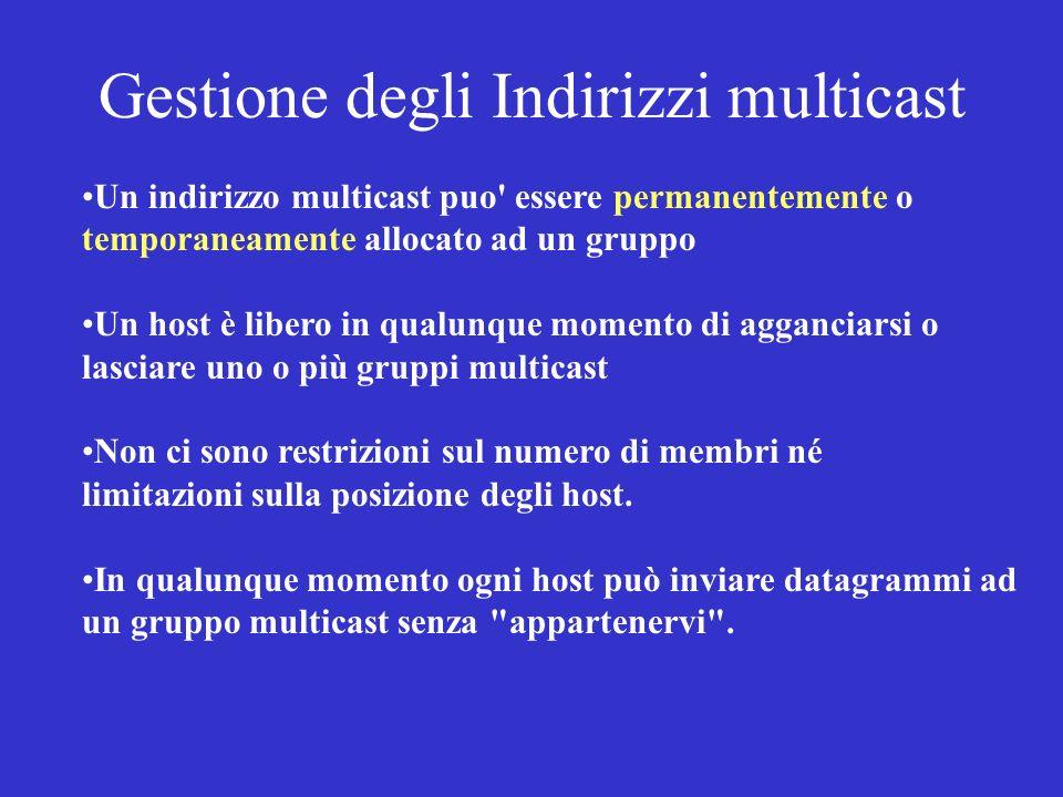 Gestione degli Indirizzi multicast Un indirizzo multicast puo' essere permanentemente o temporaneamente allocato ad un gruppo Un host è libero in qual