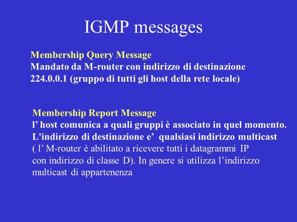 IGMP messages Membership Query Message Mandato da M-router con indirizzo di destinazione 224.0.0.1 (gruppo di tutti gli host della rete locale) Member