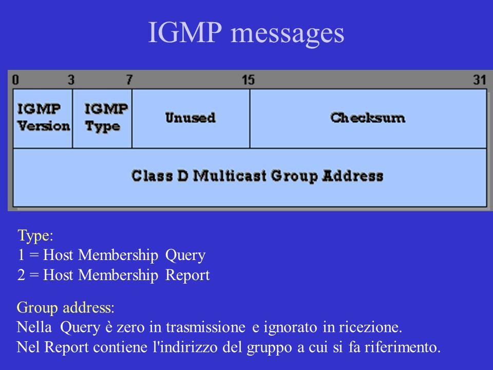 IGMP messages Type: 1 = Host Membership Query 2 = Host Membership Report Group address: Nella Query è zero in trasmissione e ignorato in ricezione. Ne