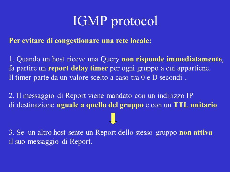 IGMP protocol Per evitare di congestionare una rete locale: 1. Quando un host riceve una Query non risponde immediatamente, fa partire un report delay