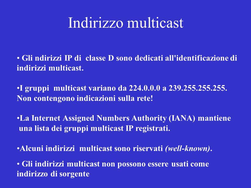Indirizzo multicast Gli ndirizzi IP di classe D sono dedicati all'identificazione di indirizzi multicast. I gruppi multicast variano da 224.0.0.0 a 23