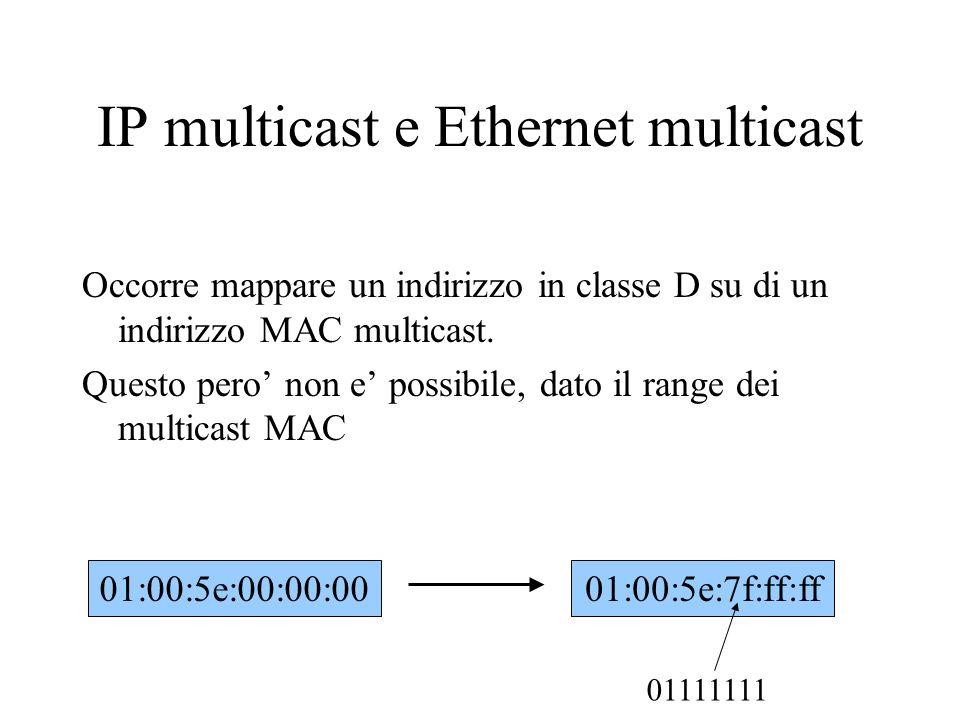 IP multicast e Ethernet multicast Occorre mappare un indirizzo in classe D su di un indirizzo MAC multicast. Questo pero non e possibile, dato il rang
