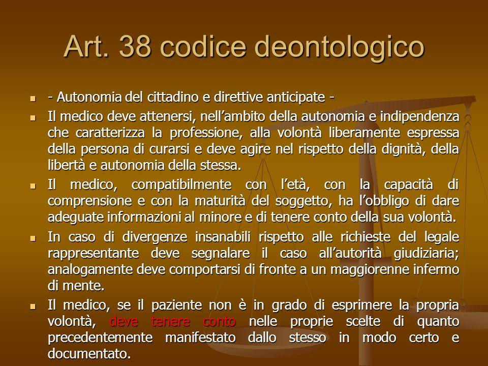Art. 38 codice deontologico - Autonomia del cittadino e direttive anticipate - - Autonomia del cittadino e direttive anticipate - Il medico deve atten