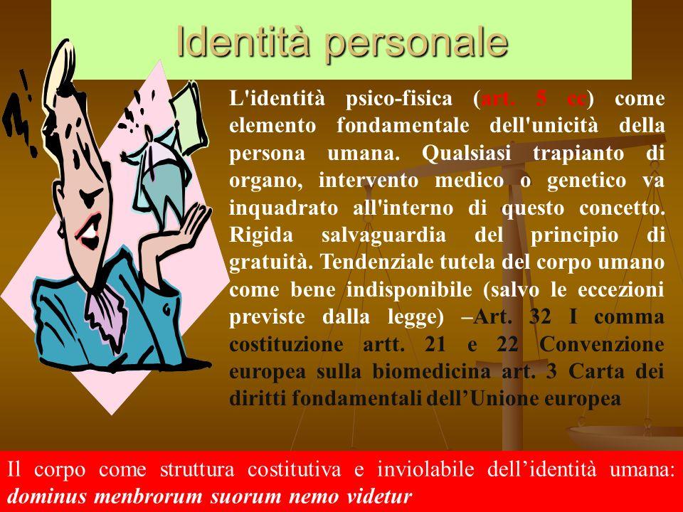 Identità personale L'identità psico-fisica (art. 5 cc) come elemento fondamentale dell'unicità della persona umana. Qualsiasi trapianto di organo, int
