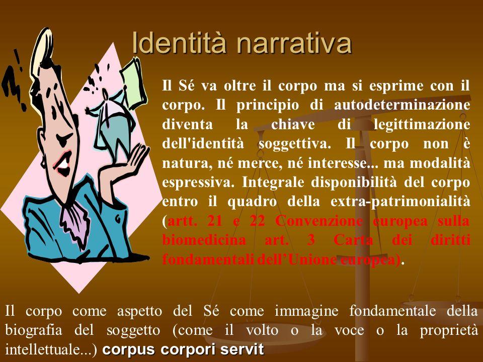 Identità narrativa Il Sé va oltre il corpo ma si esprime con il corpo. Il principio di autodeterminazione diventa la chiave di legittimazione dell'ide