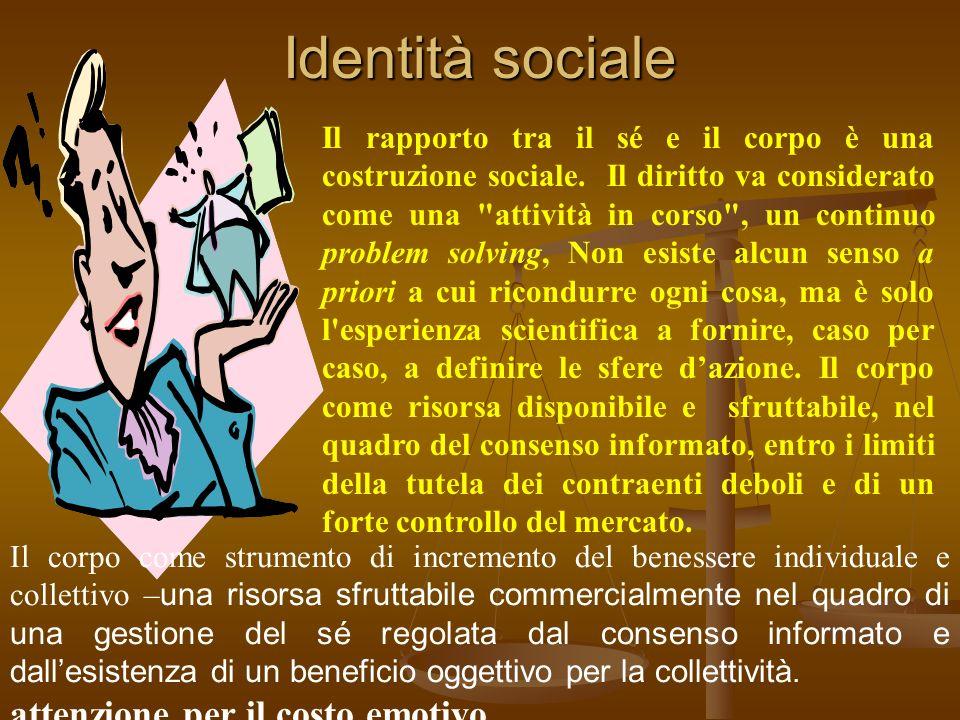 Identità sociale Il rapporto tra il sé e il corpo è una costruzione sociale. Il diritto va considerato come una