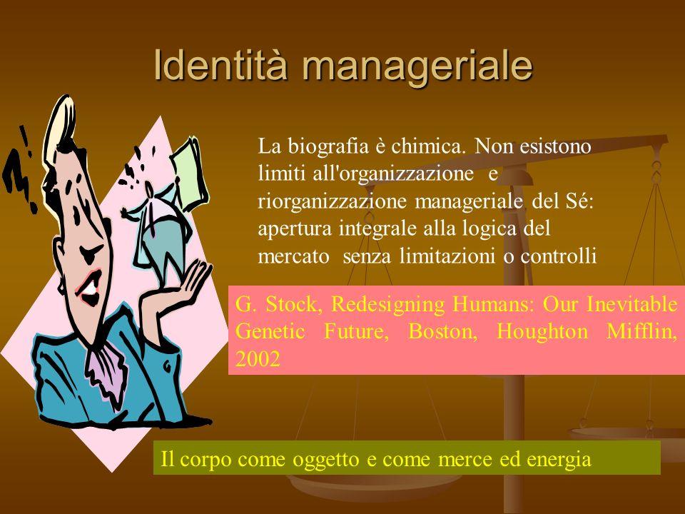 Identità manageriale La biografia è chimica. Non esistono limiti all'organizzazione e riorganizzazione manageriale del Sé: apertura integrale alla log