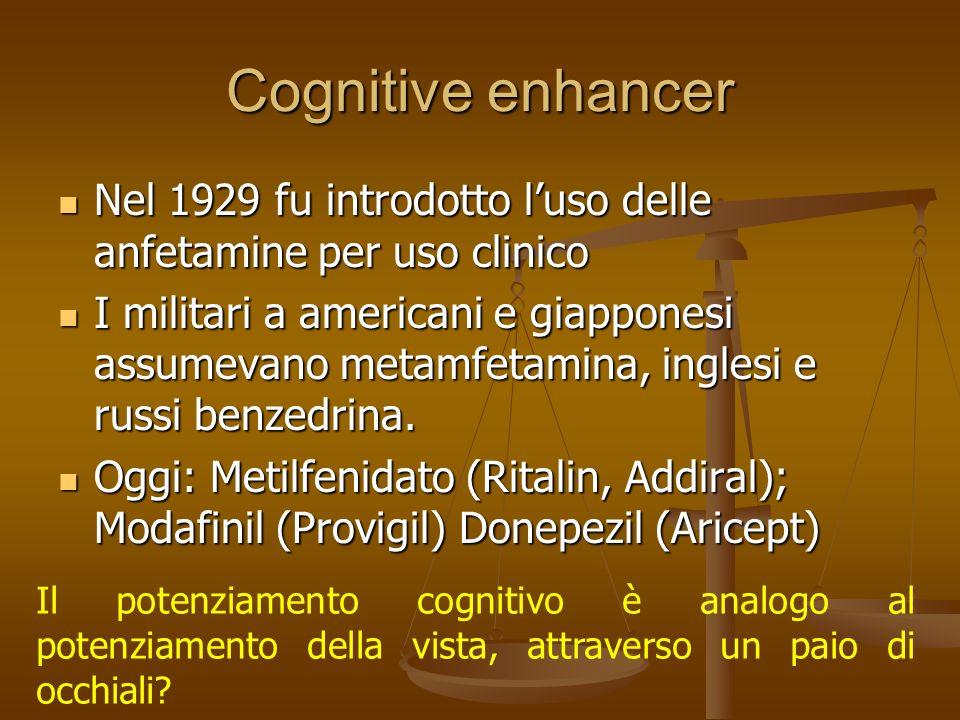 Cognitive enhancer Nel 1929 fu introdotto luso delle anfetamine per uso clinico Nel 1929 fu introdotto luso delle anfetamine per uso clinico I militar