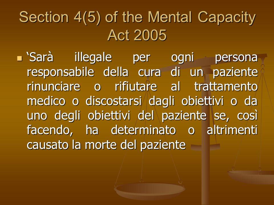 Section 4(5) of the Mental Capacity Act 2005 Sarà illegale per ogni persona responsabile della cura di un paziente rinunciare o rifiutare al trattamen
