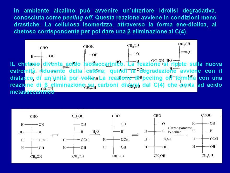 Lossidazione avviene al gruppo aldeidico che viene ossidato ad acido carbossilico; i gruppi ossidrilici secondari, che possono essere ossidati a chetone ed il gruppo ossidrilico primario che può essere ossidato ad aldeide ed eventualmente ad acido carbossilico.