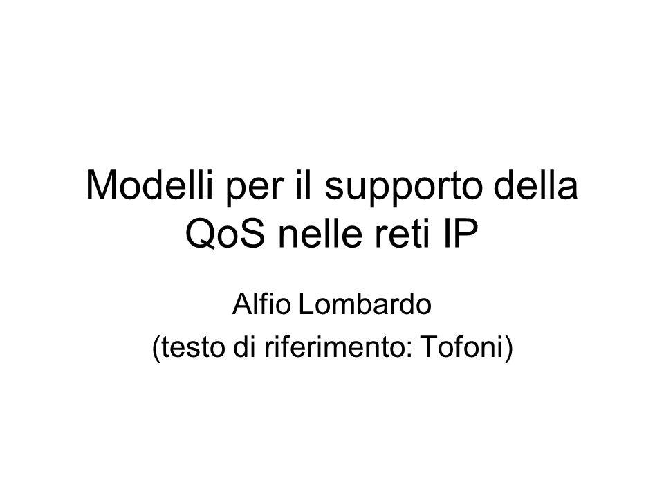 Modelli per il supporto della QoS nelle reti IP Alfio Lombardo (testo di riferimento: Tofoni)