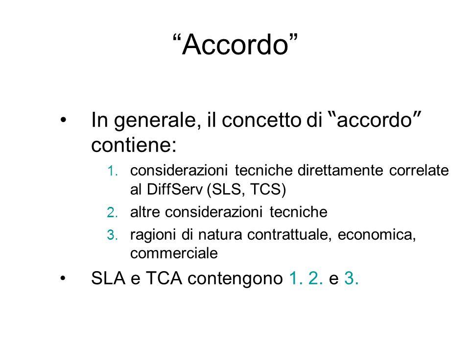 Accordo In generale, il concetto di accordo contiene: 1. considerazioni tecniche direttamente correlate al DiffServ (SLS, TCS) 2. altre considerazioni