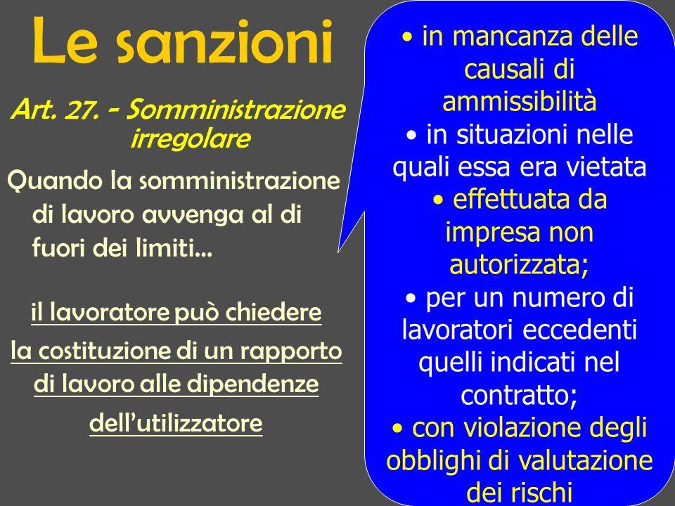 Le sanzioni Art. 27.