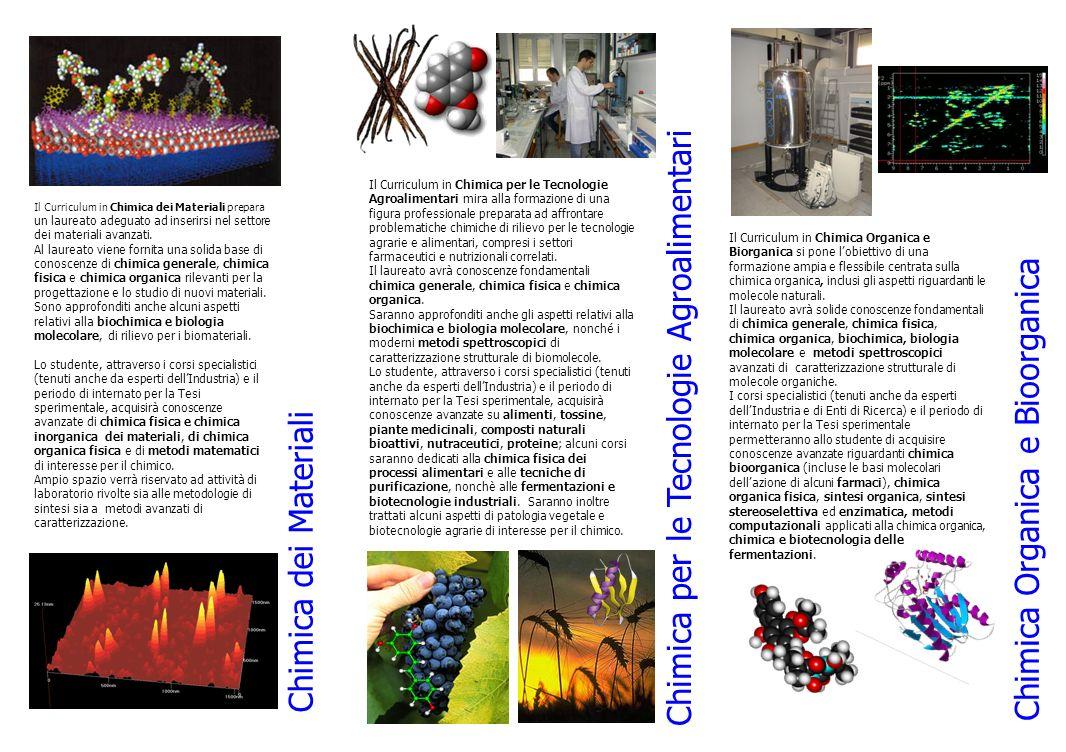 Chimica per le Tecnologie Agroalimentari Chimica Organica e Bioorganica Il Curriculum in Chimica Organica e Biorganica si pone lobiettivo di una formazione ampia e flessibile centrata sulla chimica organica, inclusi gli aspetti riguardanti le molecole naturali.