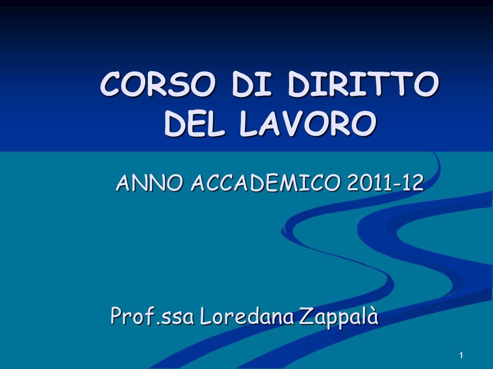 1 CORSO DI DIRITTO DEL LAVORO ANNO ACCADEMICO 2011-12 CORSO DI DIRITTO DEL LAVORO ANNO ACCADEMICO 2011-12 Prof.ssa Loredana Zappalà