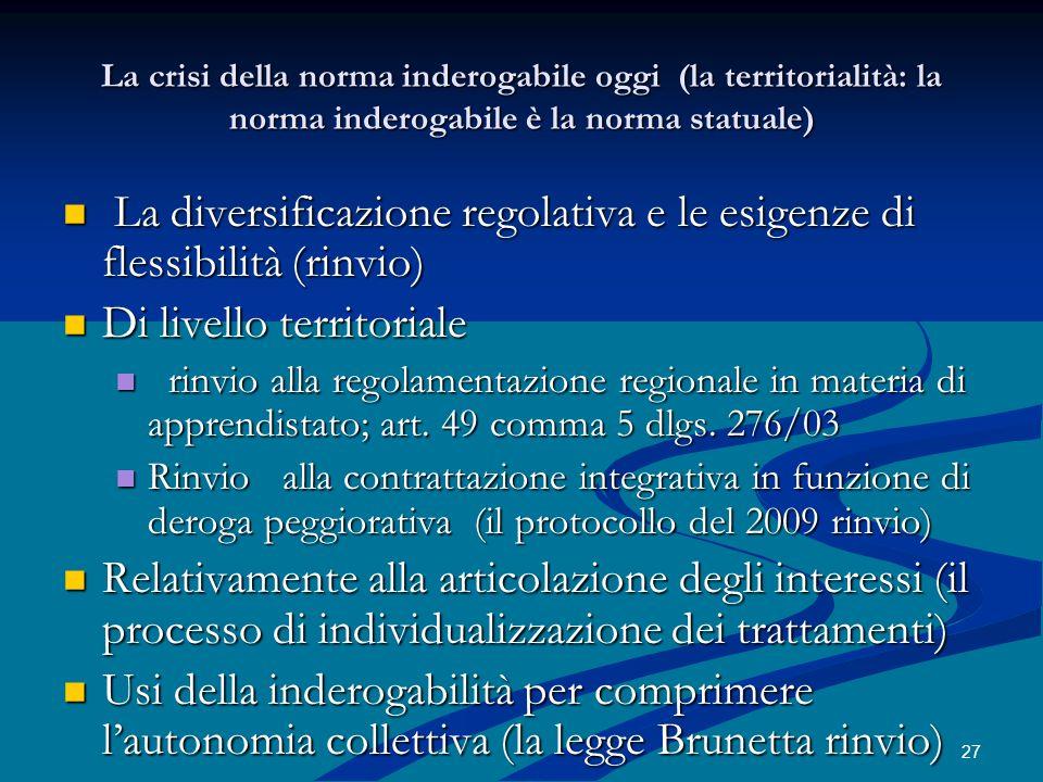 27 La crisi della norma inderogabile oggi (la territorialità: la norma inderogabile è la norma statuale) La diversificazione regolativa e le esigenze