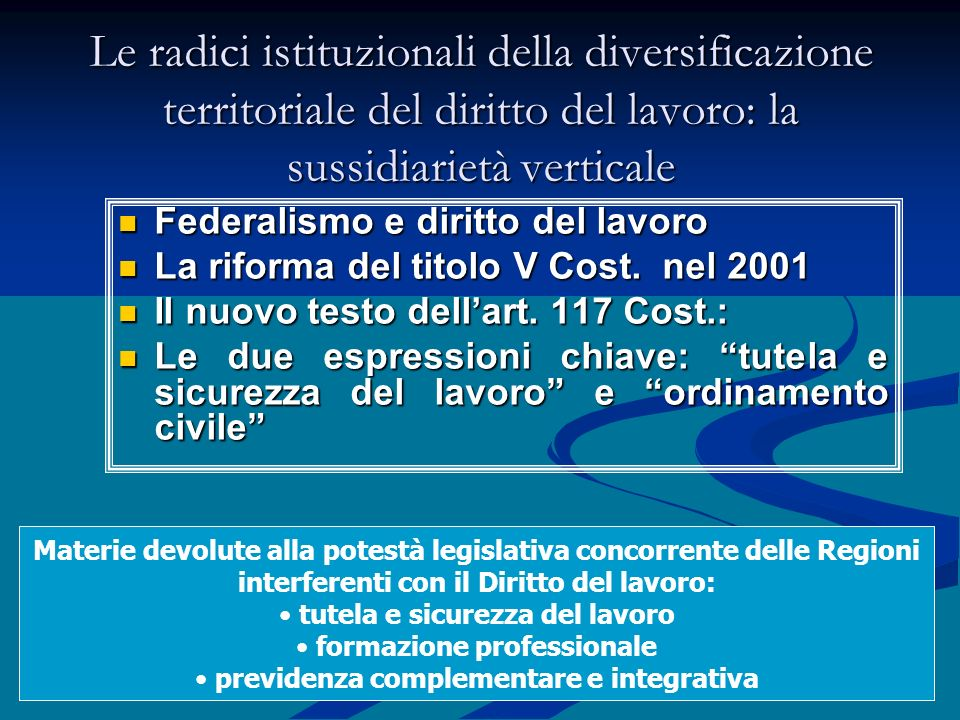 28 Le radici istituzionali della diversificazione territoriale del diritto del lavoro: la sussidiarietà verticale Federalismo e diritto del lavoro Fed