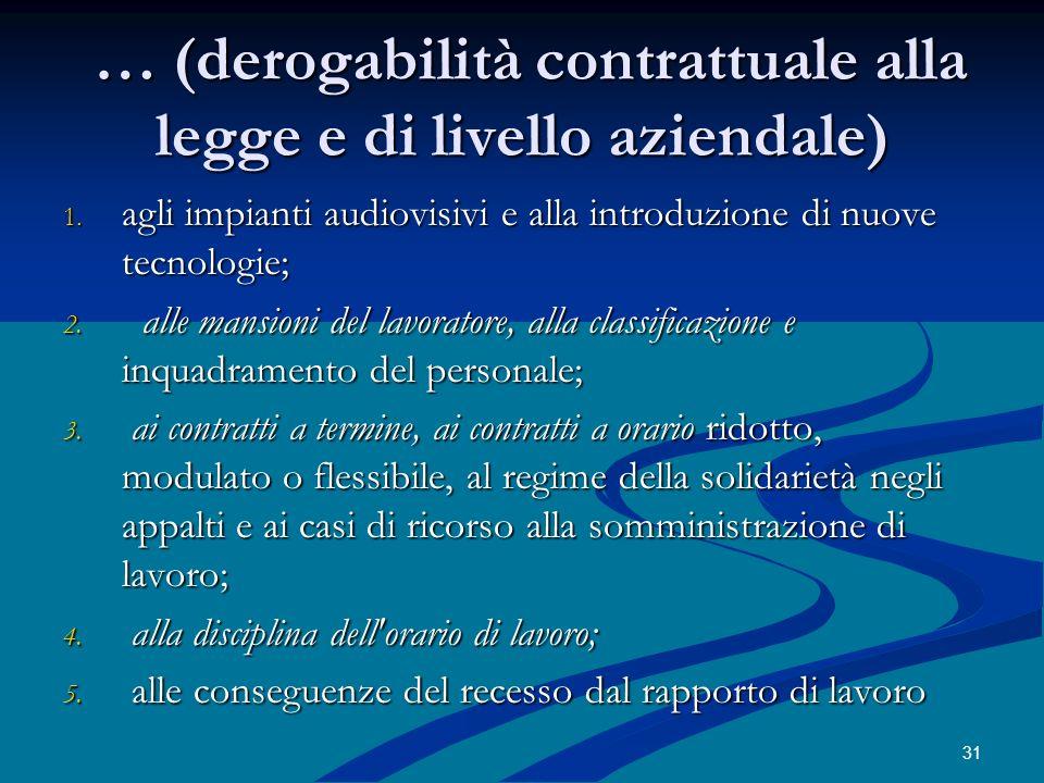 Destabilizzazione del sistema delle fonti Norma inderogabile = uniformità regolativa Contratto aziendale = regolamentazione potenziale a pelle di leopardo (i diritti derogati azienda per azienda) 32