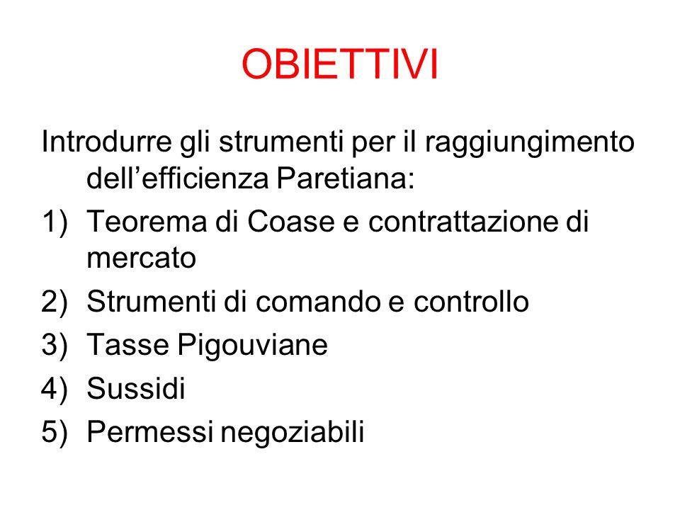OBIETTIVI Introdurre gli strumenti per il raggiungimento dellefficienza Paretiana: 1)Teorema di Coase e contrattazione di mercato 2)Strumenti di coman