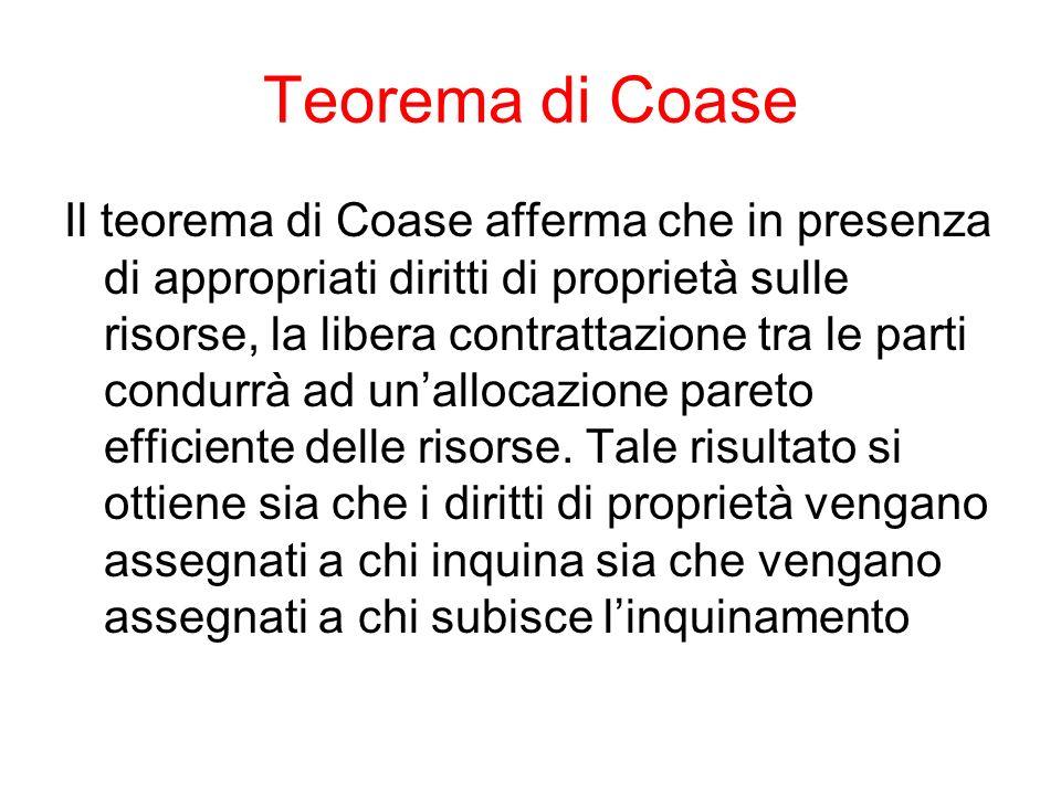 Teorema di Coase Il teorema di Coase afferma che in presenza di appropriati diritti di proprietà sulle risorse, la libera contrattazione tra le parti condurrà ad unallocazione pareto efficiente delle risorse.
