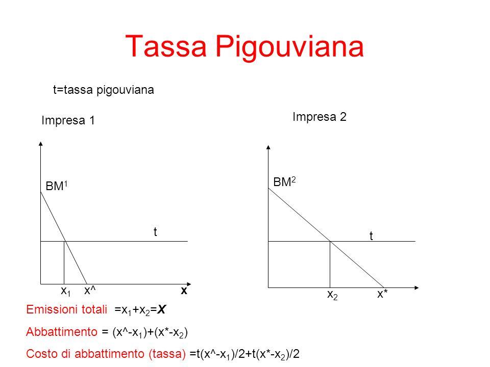 Tassa Pigouviana x BM 1 x1x1 x^ t Impresa 1 Impresa 2 x2x2 BM 2 t x* Emissioni totali =x 1 +x 2 =X Abbattimento = (x^-x 1 )+(x*-x 2 ) Costo di abbatti