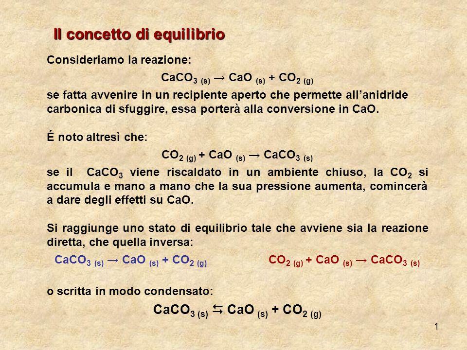 1 Consideriamo la reazione: CaCO 3 (s) CaO (s) + CO 2 (g) se fatta avvenire in un recipiente aperto che permette allanidride carbonica di sfuggire, es