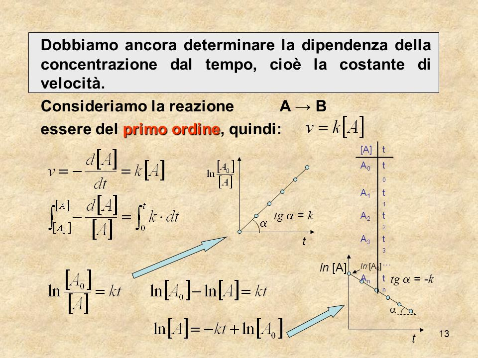 13 Dobbiamo ancora determinare la dipendenza della concentrazione dal tempo, cioè la costante di velocità. Consideriamo la reazioneA B primo ordine es