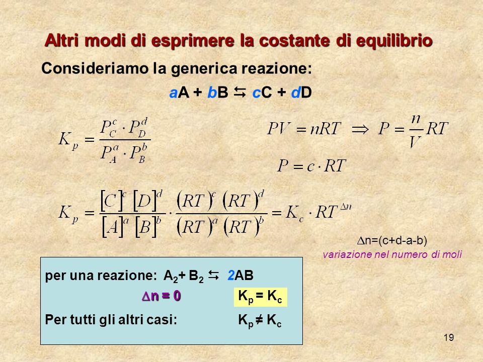 19 Altri modi di esprimere la costante di equilibrio Consideriamo la generica reazione: aA + bB cC + dD n=(c+d-a-b) variazione nel numero di moli per