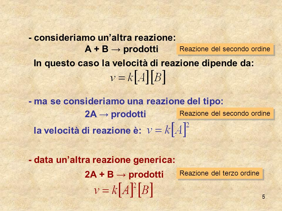 5 - consideriamo unaltra reazione: A + B prodotti In questo caso la velocità di reazione dipende da: - ma se consideriamo una reazione del tipo: 2A pr