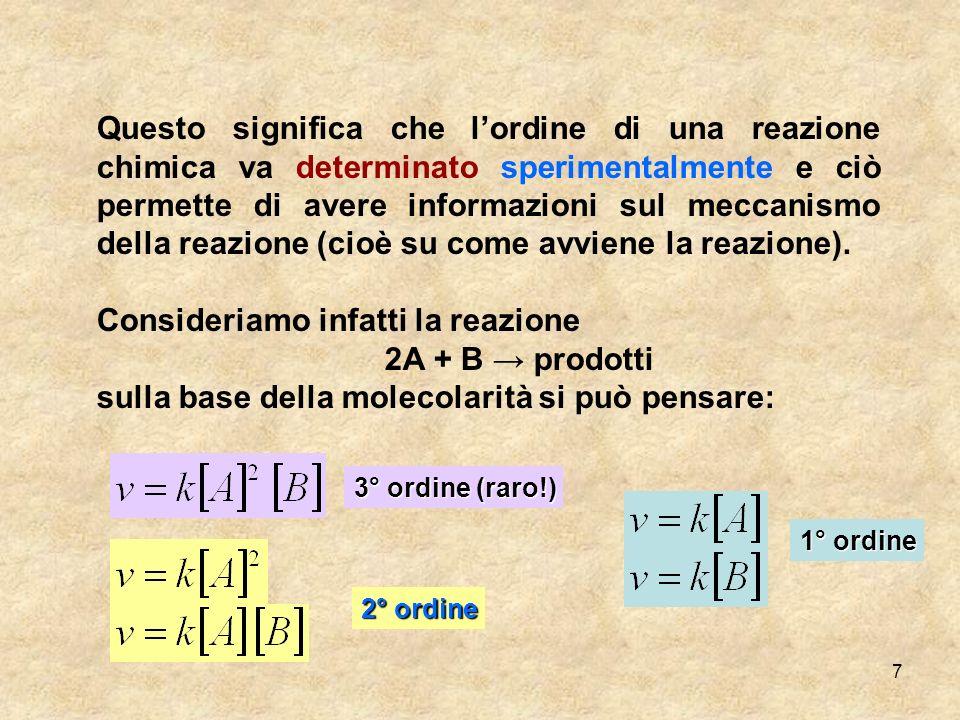7 Questo significa che lordine di una reazione chimica va determinato sperimentalmente e ciò permette di avere informazioni sul meccanismo della reazi