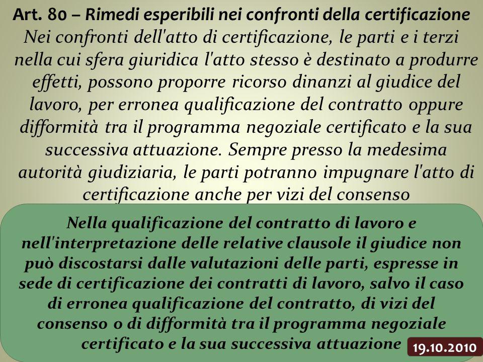 Art. 80 – Rimedi esperibili nei confronti della certificazione Nei confronti dell'atto di certificazione, le parti e i terzi nella cui sfera giuridica