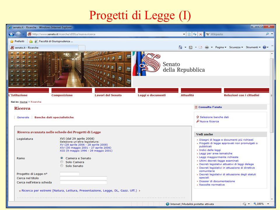 Progetti di Legge (I)