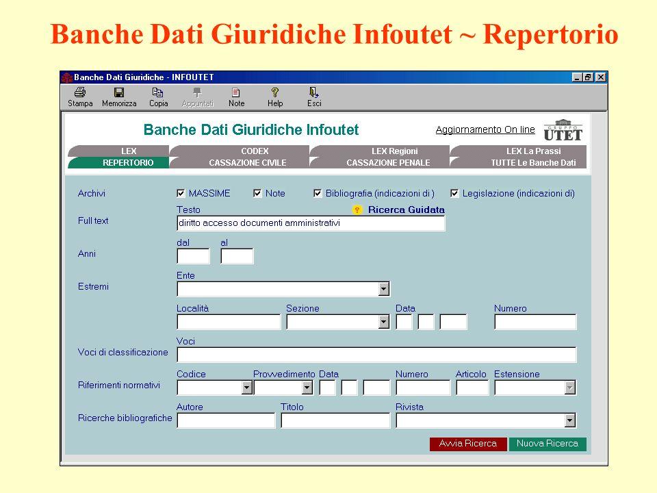 Banche Dati Giuridiche Infoutet ~ Repertorio