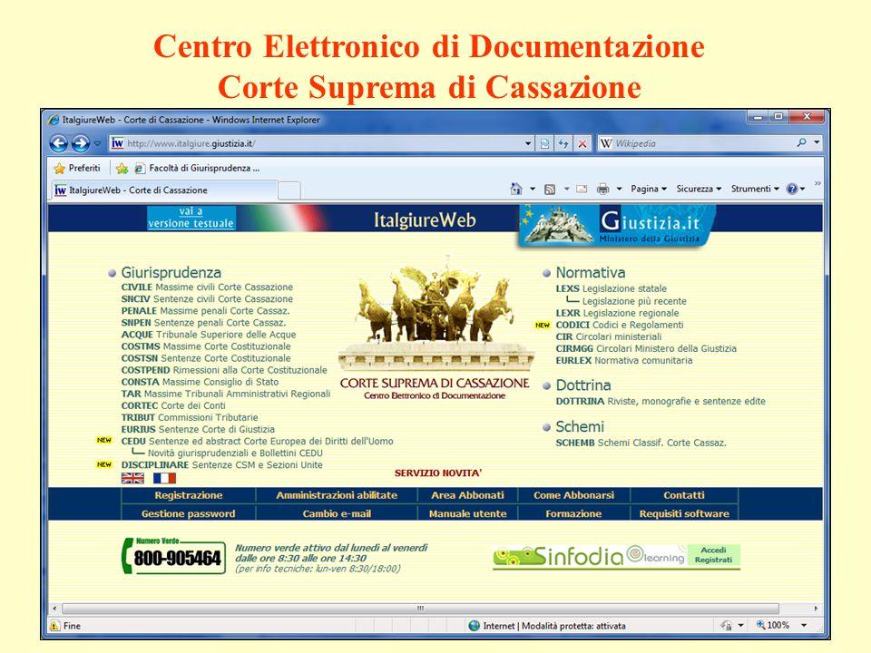 Centro Elettronico di Documentazione Corte Suprema di Cassazione