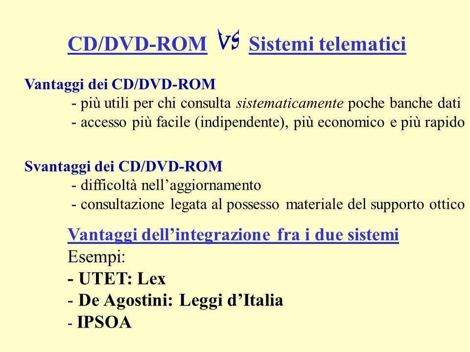 Vantaggi dei CD/DVD-ROM - più utili per chi consulta sistematicamente poche banche dati - accesso più facile (indipendente), più economico e più rapido Svantaggi dei CD/DVD-ROM - difficoltà nellaggiornamento - consultazione legata al possesso materiale del supporto ottico CD/DVD-ROM Sistemi telematici Vantaggi dellintegrazione fra i due sistemi Esempi: - UTET: Lex - De Agostini: Leggi dItalia - IPSOA