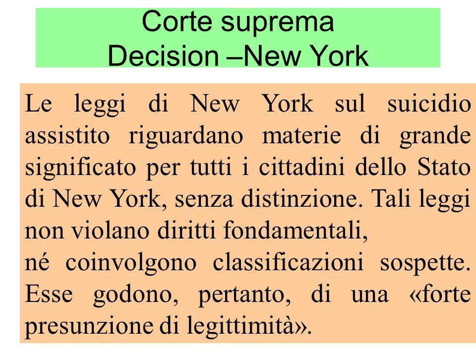Corte suprema Decision –New York Le leggi di New York sul suicidio assistito riguardano materie di grande significato per tutti i cittadini dello Stat
