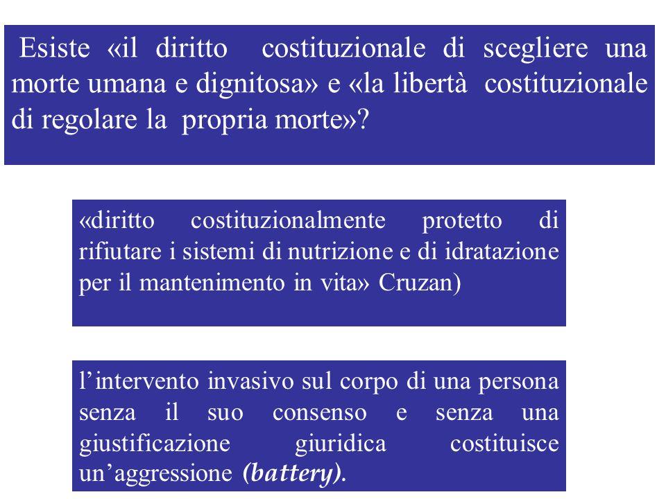 Esiste «il diritto costituzionale di scegliere una morte umana e dignitosa» e «la libertà costituzionale di regolare la propria morte»? «diritto costi