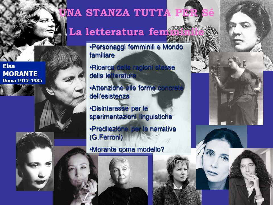 UNA STANZA TUTTA PER Sé La letteratura femminile Elsa MORANTE Roma 1912-1985 Personaggi femminili e Mondo familiarePersonaggi femminili e Mondo famili