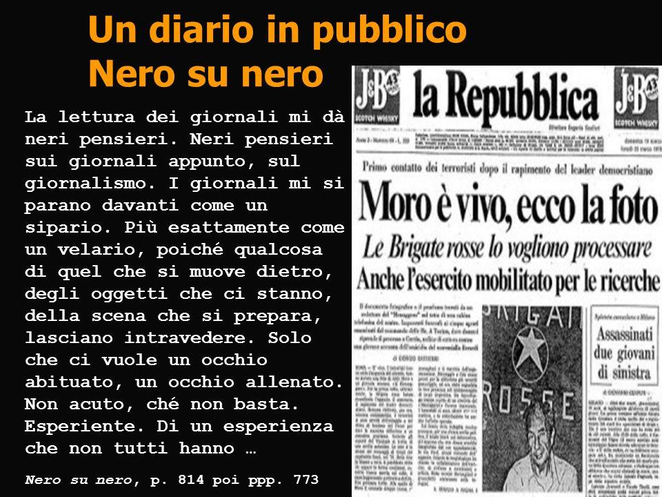 Un diario in pubblico Nero su nero La lettura dei giornali mi dà neri pensieri. Neri pensieri sui giornali appunto, sul giornalismo. I giornali mi si