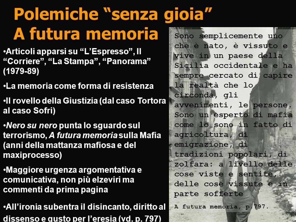 Polemiche senza gioia A futura memoria Articoli apparsi su LEspresso, Il Corriere, La Stampa, Panorama (1979-89) La memoria come forma di resistenza I