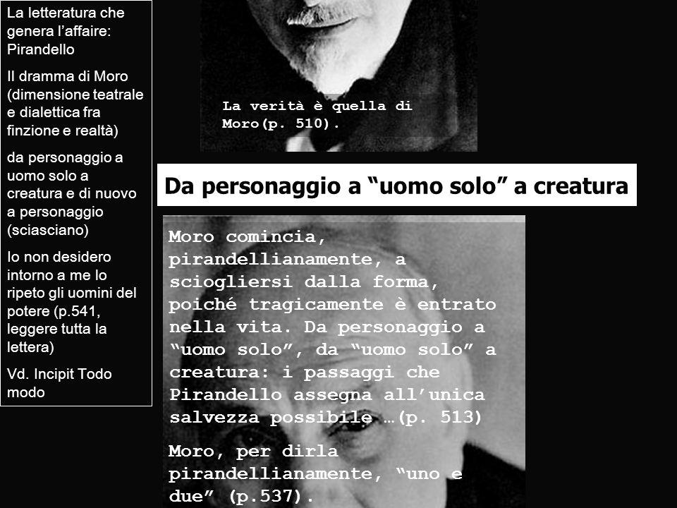 Da personaggio a uomo solo a creatura La letteratura che genera laffaire: Pirandello Il dramma di Moro (dimensione teatrale e dialettica fra finzione
