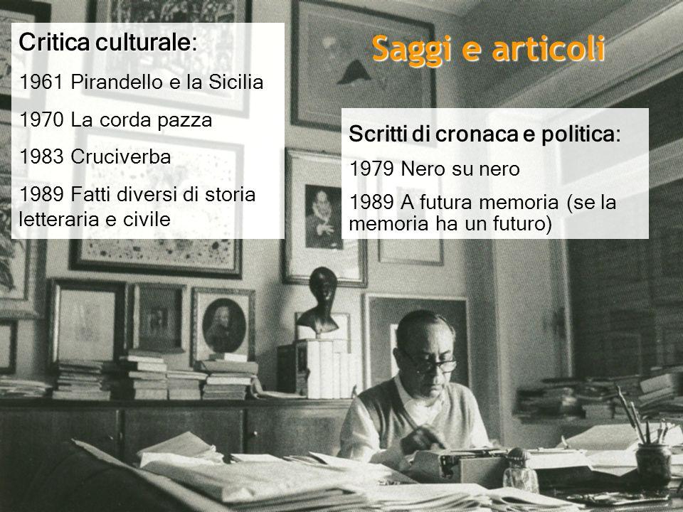 Critica culturale: 1961 Pirandello e la Sicilia 1970 La corda pazza 1983 Cruciverba 1989 Fatti diversi di storia letteraria e civile Scritti di cronac